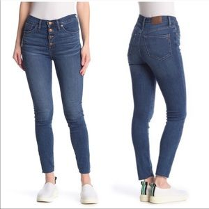 """Madewell 9"""" Mid Rise Skinny Button Fly Frayed Hem"""